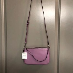 New Coach Lilac Top Handle Leather Pouch Crossbody